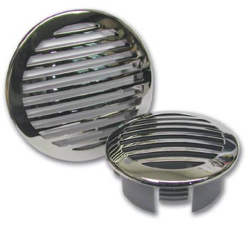 "Table Leg Caps Square Stainless clad domed vent grill for 4"" hose"