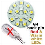 red/white led bulb replaces halogen bulb